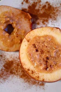 Three-Ingredient Baked Apples  Ingredients:  1 apple (my favorite are gala!) 1 tablespoon peanut or almond butter 1 teaspoon cinnamon Steps:  Using a knife, slice off the top of the apple and core. Fill the crater with peanut butter, and sprinkle with cinnamon. Bake at 400 degrees for 15 minutes.