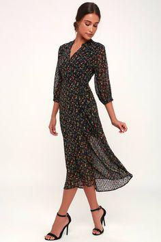 Go With The Flo-ral Black Floral Print Swiss Dot Midi Wrap Dress Trendy  Dresses 7dc7b58e11d9