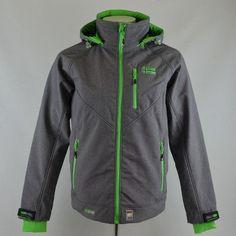 #Veste homme #Softshell #Himalaya Mountain tissu gris chiné zip vert chez GG Jeans