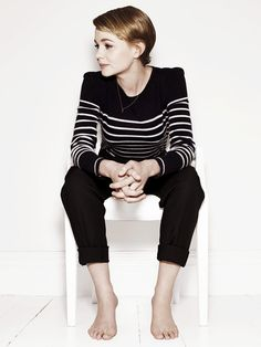 619b393864f69 Love this shirt. Carey Mulligan - black skinny pants  amp  black   white  striped