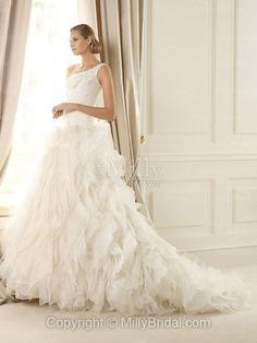 Organza One Shoulder Strap A-line Lavish Ruffled Skirt Wedding Dress at Millybridal.com