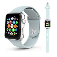 Leefrei Apple Watch Band Sport Band Soft Silicone with a Pinandtuck Closure Replacement Strap for Apple Watch Series 2 Series 1 3 Pieces 42mm Turquoise * Click affiliate link Amazon.com on image to review more details.