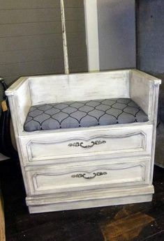 seat made of old drawers - this would make awesome craft room seating