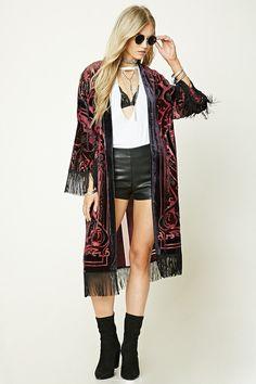 04e0182efa87 FOREVER 21 Velvet Applique Longline Kimono ($32.90) Kimono Outfit, Long  Kimono, Kimono
