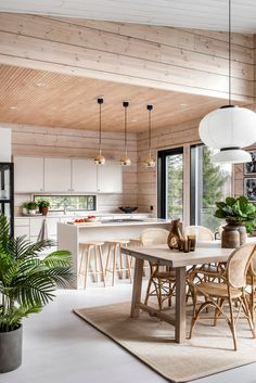 A log home inspired by nature – this is the home of Jenni, Tero, Nipsu and Maxi - Honka Plan Chalet, Log Home Living, Living Area, Log Homes, Modern Interior Design, Kitchen Design, Sweet Home, House Design, Contemporary