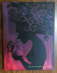 Silhouette acrylic painting  Mused by MyInspirationCorner on Etsy, $75.00