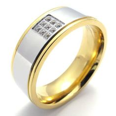 KONOV Jewelry Polished Two-Tone Stainless Steel Band Ring, Gold Silver (Available in Size 8, 9, 10, 11, 12) KONOV Jewelry. $7.99. Width: 8mm (0.31 inches). Material: Stainless Steel. Available sizes: 8 - 12. Color: Gold & Silver