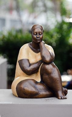 Contemplation by Nnamdi Okonkwo Beautiful rubenesque sculpture - figurine of ethnic woman. Reminiscent of paintings and drawings by Francisco Zuniga.