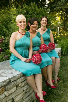 aqua bridesmaid dresses from Target.com, accompanied by red accessories