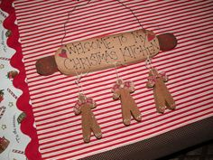 I would use wooden rolling pin & cinnamon dough gingerbread men