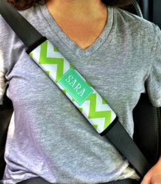 Our newest addition to our car accessories is the fabulous personalized seatbelt strap. How cute Design yours today. It is made of neoprene material with a velcro closure. The imprint area measures 9 x 2 12. You choose your pattern, colors, font, and frame and we put it together for you. We can even do a matching license plate Links to the options can be found under the Write Review button. Be sure to enter your monogram, name, or