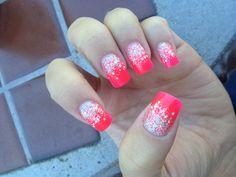 Coral & Silver Glitter Ombre Nails ♥