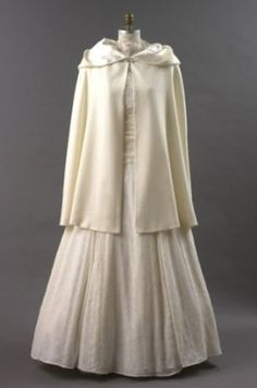 Ivory Wool Wedding Short Cloak with Hood, Lined in Satin ~ New, Made in USA ~ Size Large Carpatina - Renaissance Fashions. $229.00