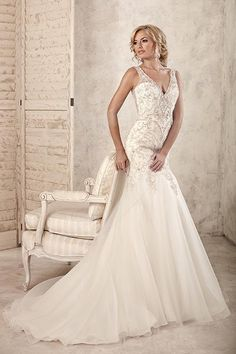 Balletts Bridal - 22330 - Wedding Gown by Jacquelin Bridals Canada - Beaded sheer illusion tank. Fitted beaded dropped waist bodice with flared tulle skirt