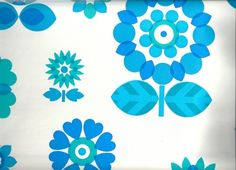 Image of Vintage 70s Blue Flower Scandi Style Wallpaper, price is per Metre