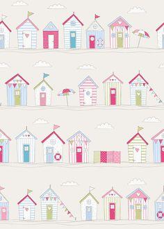 'Beach Huts Pink' Fryett's Fabrics