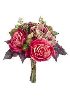 Hassle-free, budget-friendly artificial silk fall wedding bouquets at Afloral.com. Find this one with fuchsia mauve roses, mauve green hydrangeas and succulents.