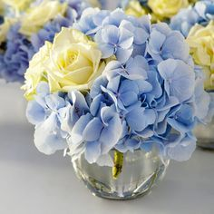 Royal Blue And Yellow Flower Arrangements Simple Lovely Mini Flower Centerpieces 3 Blue And Yellow Flower Arrangements Blue And Yellow Floral Centerpieces Blue Hydrangea Centerpieces, Yellow Flower Arrangements, Yellow Bouquets, Wedding Centerpieces, Wedding Decorations, Hydrangea Bouquet, Bouquet Flowers, Yellow Roses, Wedding Colors