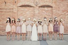 The Secrets of Successful Mismatched Bridesmaids - I love the neutral colors of these dresses, and the picture's pose. Bridesmaid Dresses | Wedding Color Schemes