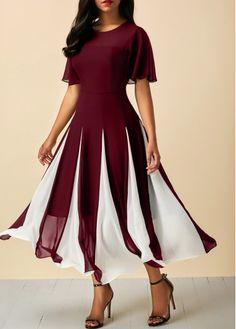 Wine Red Round Neck Short Sleeve Chiffon Dress | Rosewe.com - USD $33.53
