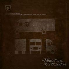 UPS #work #blueprint #UPS #brown #retro #art