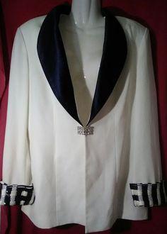 Vintage Nina Massini NM Absolutely Fabulous White&Blue Blazer w/ Sparkle&Gems 14 #NinaMassiniNM #Blazer