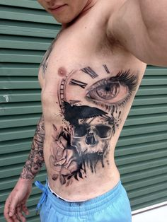 Tattoo for guys, rose, skull, eye, time piece crow, trash polka