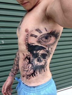Tattoo for guys, rose, skull, eye, time piece crow, trash polka
