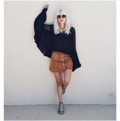 Pin for Later: The 1 Skirt You'll Wear a Million Ways This Fall With a Sheer Wide-Sleeved Shirt For the Full '70s Effect