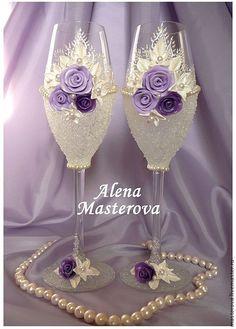 Купить Свадебные бокалы - свадебные аксессуары, свадебные бокалы, сиреневый цвет, сиреневый, полимерная глина
