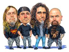 Slayer is an American thrash metal band formed in Huntington Park, California in 1981 by guitarists Kerry King and Jeff Hanneman. Slayer rose to mains. Funny Caricatures, Celebrity Caricatures, Metal Bands, Rock Bands, Rock And Roll, Reign In Blood, Kerry King, Huntington Park, Heavy Metal Music