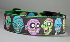 Zombie Apocalypse Dog Collar 1.5 wide on bright green by FunkyMutt
