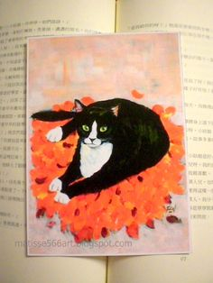 cat art print of A Cat On Fallen Leaf Mat  for wall by matisse566, $15.00