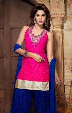 USD 203.73 Pink Jacquard Patiala Salwar Kameez   34802