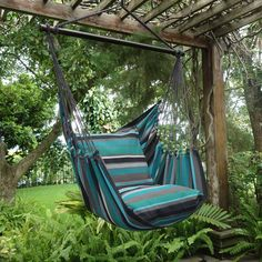 "- Beautiful Extra Large Hammock Chair That is Mold and Fade Resistant - Artisan Hand Crafted Fabric to Last for Years of Enjoyment - Includes Two Matching Pillow Shams (Requires 2 24"" Pillows to fill #HammockChair"