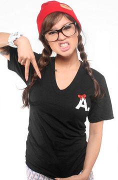 Ashley Vee x Adapt :: A-Type Kitty Edition (Women's Black/Red V-Neck)