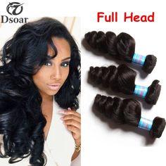 16'' Indian Loose Wave Virgin Hair Weave 3 Bundle Wavy Human Hair Extension 300g #Dsoar #WaveBundle