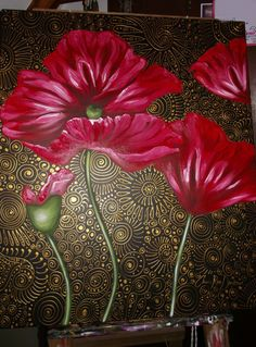 Never-Before-Seen Photographs of How I Paint my Patterned Poppies – Cherie Roe Dirksen Art Through The Ages, Acrylic Painting Techniques, Acrylic Flowers, Motif Floral, Fruit Art, Watercolor Artwork, Mural Art, Fabric Painting, Box Art