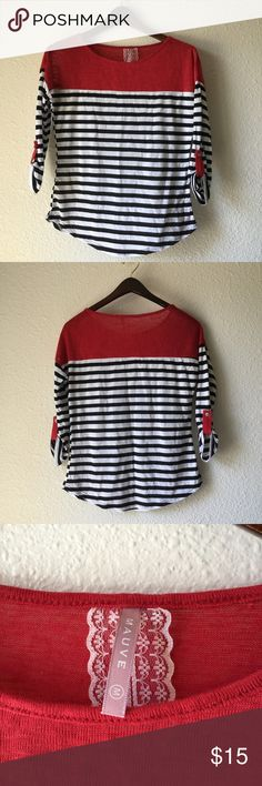 Size M Anthropologie Mauve 3/4 Sleeve Top Very cute sz medium Mauve top.  3/4 Sleeve Blue and white strip with solid red on top.   No stains or rips. Anthropologie Tops