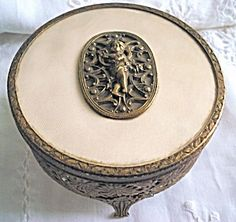 Art Deco Filigree Jewelry Box  Powder Box Cherub. Click on the image for more information.