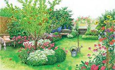 Vom Rasen zum Landhausgarten -  Rasen, Zaun und Gartenhaus – mehr hat das Grundstück nicht zu bieten. Mit zwei verschiedenen Gestaltungsvorschlägen zum Nachpflanzen zeigen wir Ihnen, wie aus einer schnöden Fläche ein Traumgarten wird.