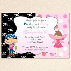 Pirate and Fairy Party Invitation Cute idea for shared birthday with K and the boys or b/g twins, triplets.