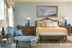 french country blue bedrooms | Blue Country French Master Bedroom
