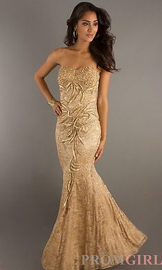 I like the fit & flow of this dress. don't care for the textile~ Strapless Formal Gown for Prom