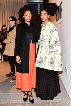 WHO: TK Wonder and Cipriana Quann WHAT: TK Wonder in an Honor coat and top, The Mobile Vintage Shop dress, and Jeffrey Campbell shoes; Cipriana Quann in an Honor coat, ASOS skirt, and Sol Sana shoes WHERE: At the Honor show WHEN: February 2015 Afro Punk Fashion, Star Fashion, Fashion Show, Women's Fashion, Fashion Addict, High Fashion, Quann Sisters, Kim Kardashian And North, Ootd