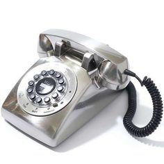 Silver rotary phone