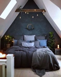 Blue Bedroom Decoration Ideas to Bring Perfection in Your Private Room - Wohnideen - Schlafzimmer Bedroom Loft, Dream Bedroom, Home Decor Bedroom, Dark Cozy Bedroom, Bedroom Furniture, Attic Bedroom Small, Bedroom Colors, Modern Bedroom, Trendy Bedroom