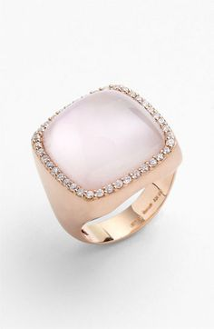 Roberto Coin Diamond & Square Cut Rose Quartz Ring available at Nordstrom