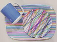 Colorful Melamine Plate, Platter and Ceramic Mug. Dishwasher safe. plateshoppe.com. #melamine#dinnerware #tableware #gifts#trays#dishes