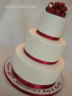 40th Anniversary Cake | Fondant cake with piping and sugar b… | Flickr